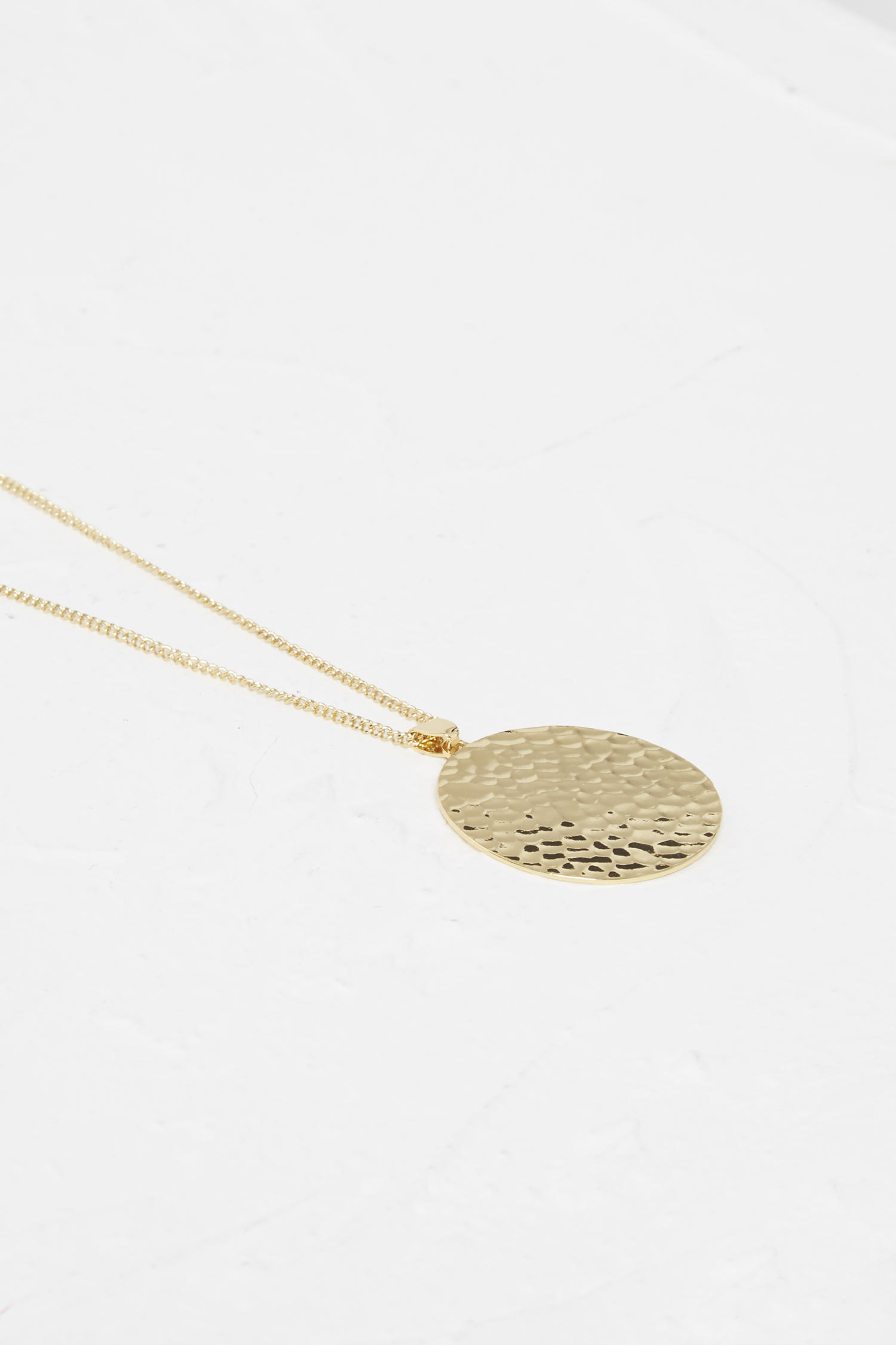 dl hammered pendant disc vela necklace gold diamond stone