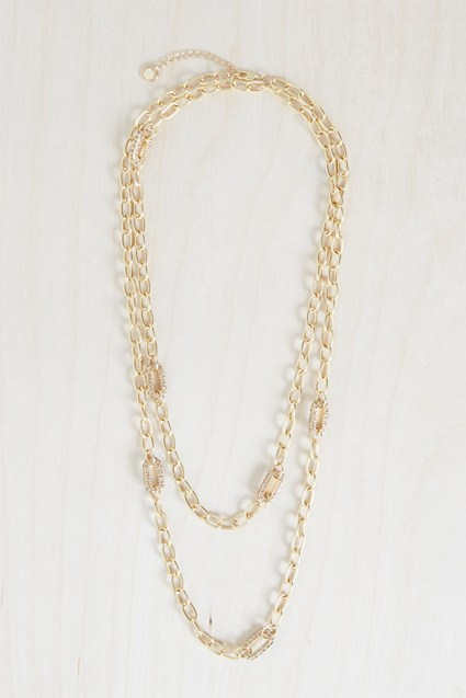 Stones And Chain Link Necklace