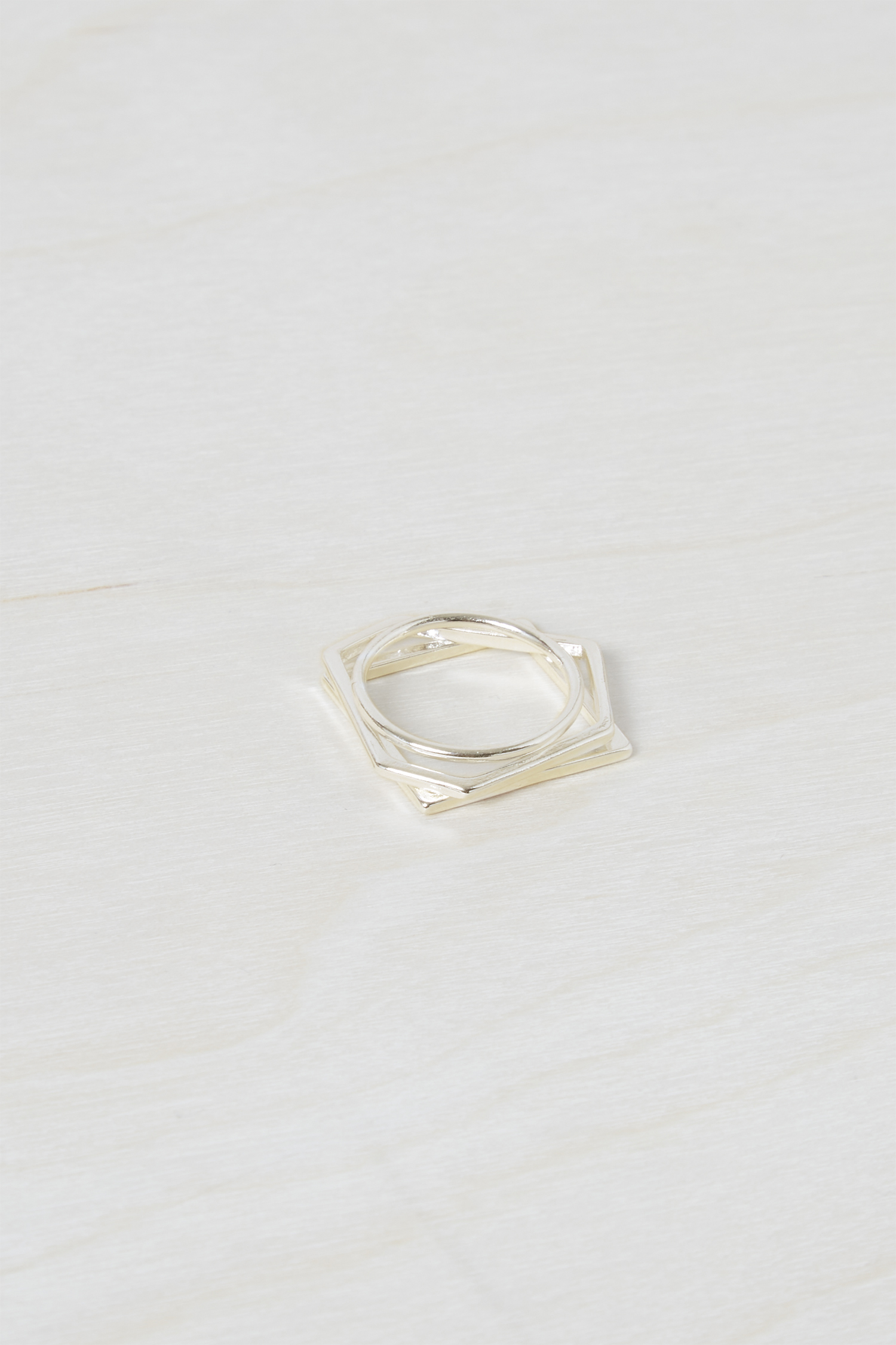 Chunky Geo Stacked Rings - gold