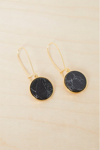 Semi Precious Circle Earrings