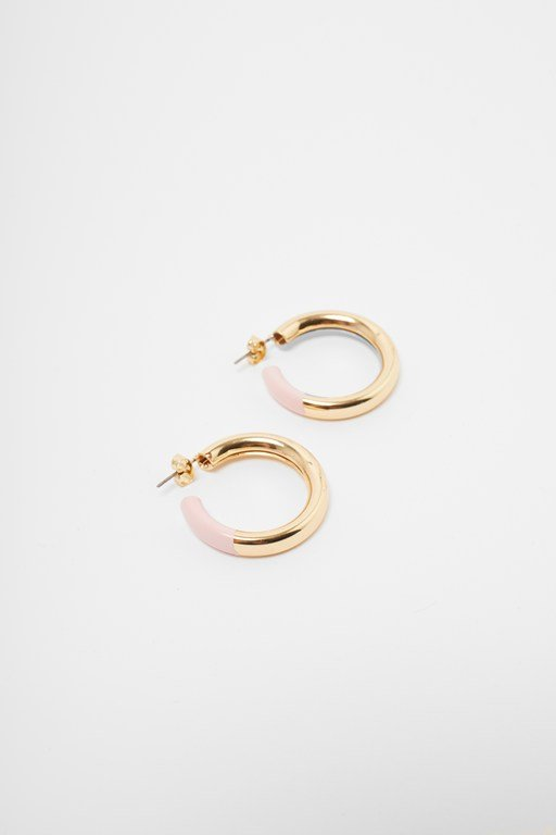 core hoop enamel earrings