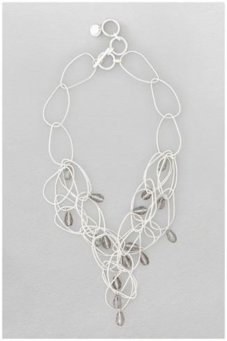 Irregular Hoop & Bead Drop Collar Necklace