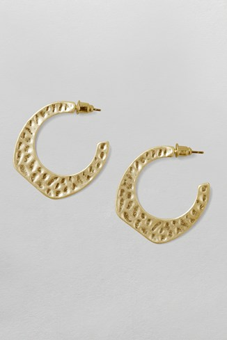 Beaten Organic Hoop Earrings