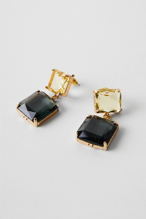 square stone drop earrings