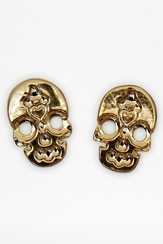 Etched Skull Stud Earrings