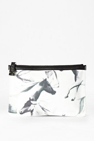 Printed Horses Leather Trim Make-Up Bag