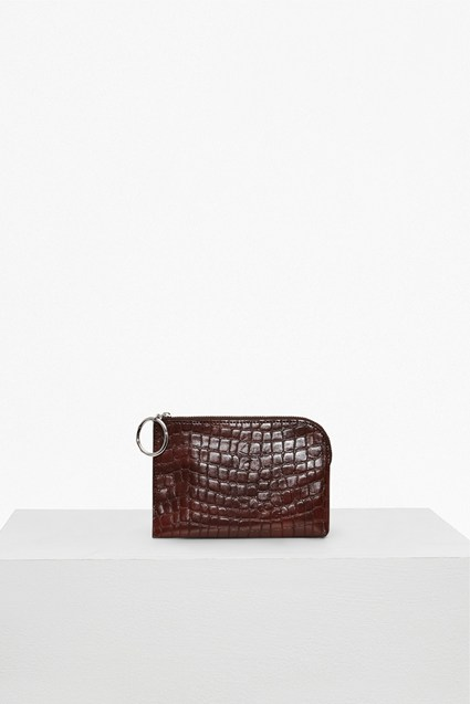 Oversized Buckle Croc Embossed Wallet