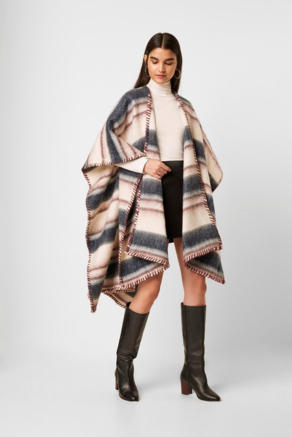 Striped Blanket Stitch Cape