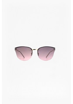 Semi Rimless Metal Cat Eye Sunglasses