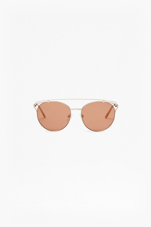 Complete the Look Premium Cross Metal Round Sunglasses