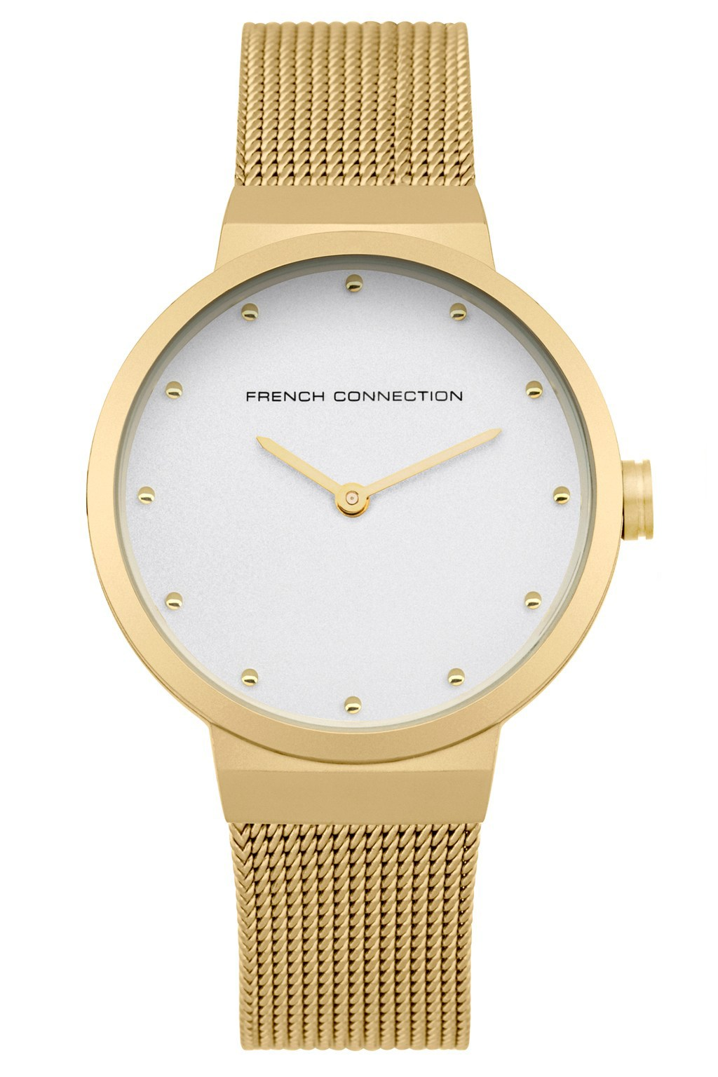 Gold mesh strap watch watches french connection for Gold timepieces watch