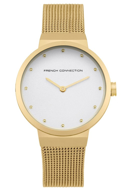 gold mesh strap watch