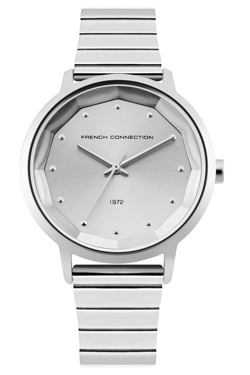silver sunray link bracelet watch