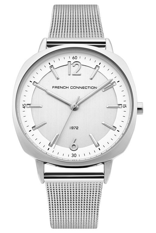 square silver mesh strap watch