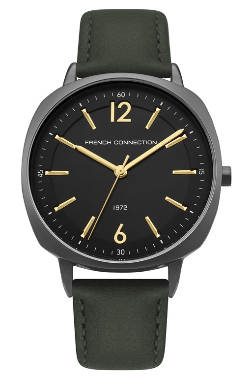 Complete the Look Black Dial Khaki Leather Strap