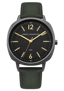 Black Dial Khaki Leather Strap