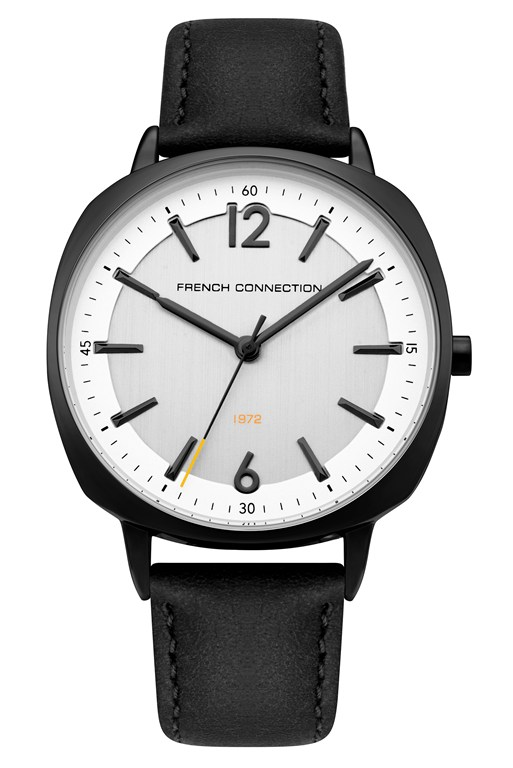 white dial black leather strap