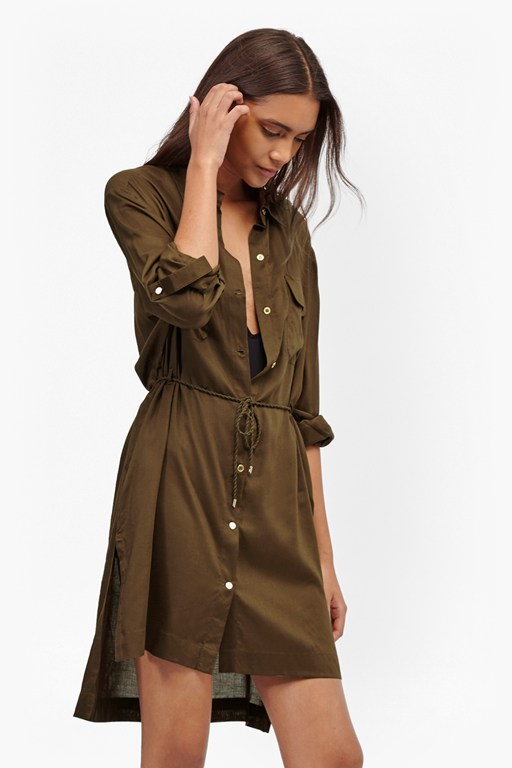 casual button through shirt dress