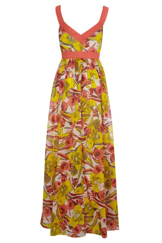 Tahiti Floral Maxi Dress Yellow, Red