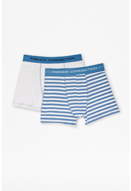 Two Pack Plain/Stripe Boxer Shorts