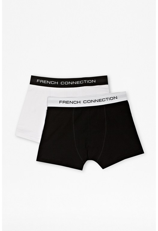 2 Pack Black And White Cotton Trunks