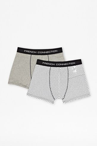 2 Pack Dot And Plain Stretch Cotton Trunks