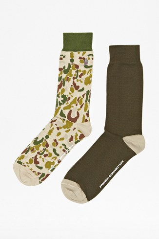 Two Pack Little Camo Socks