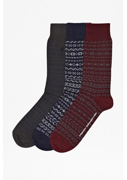Three Pack Patterned Fair Isle Socks