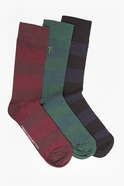Soccerman Pack of 3 Bold Stripe Socks