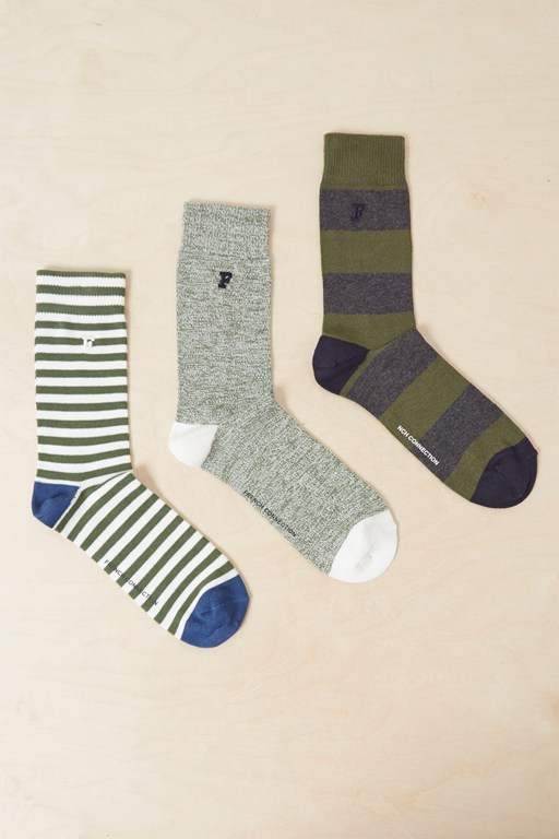 3 pack gilbert grindle stripe socks