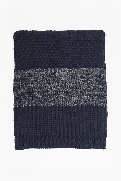 textured patchwork knit scarf