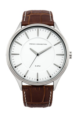 Matte Leather Circle Watch