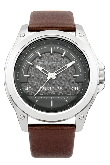 Brushed Steel Leather Strap Watch