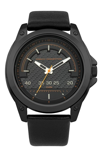 Brushed Steel Black Leather Watch