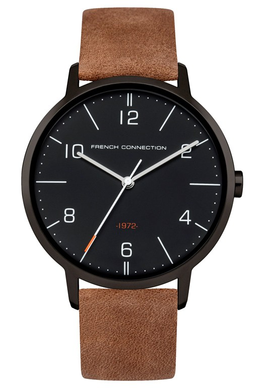 39mm tan leather strap watch