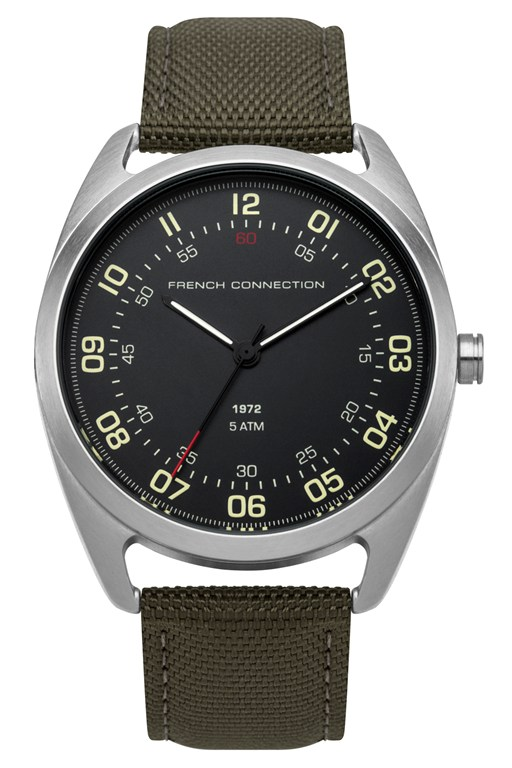 khaki nylon strap watch