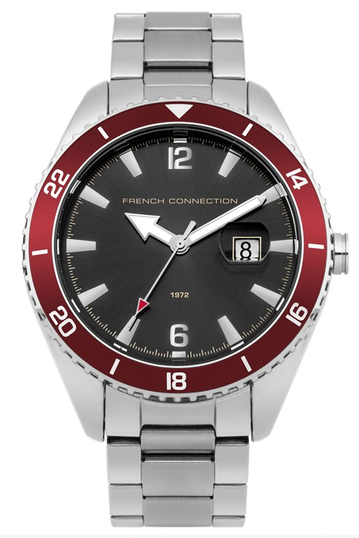cool grey and red steel watch