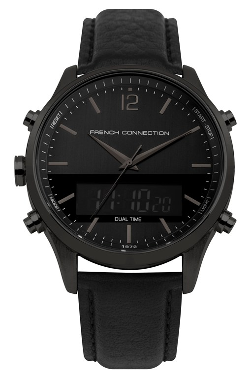 Complete the Look Brushed Black Leather Watch