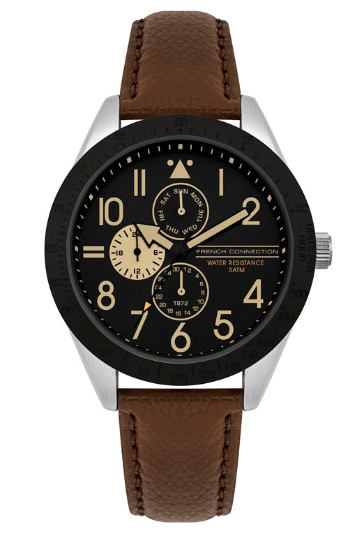 multi functional leather strap watch