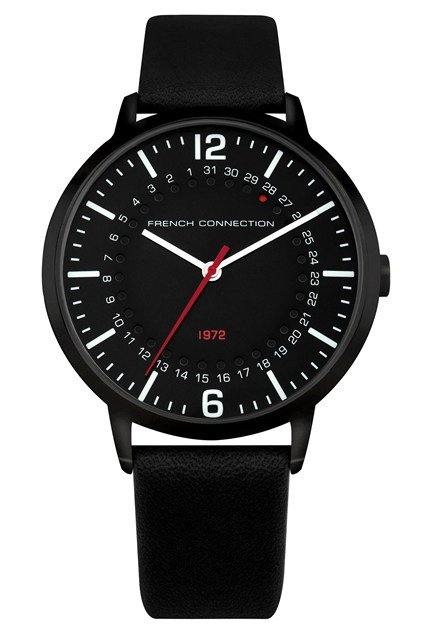 Black Leather Strap Watch