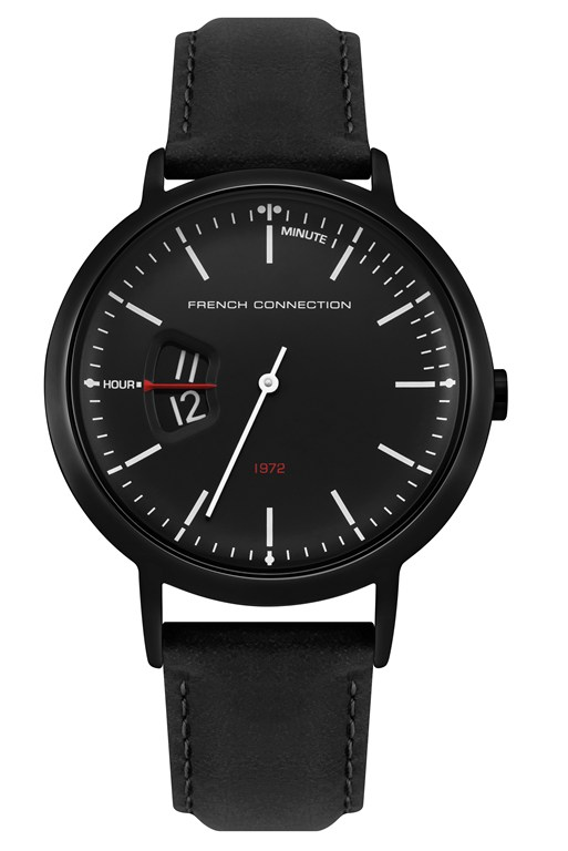 Complete the Look Black Oily Leather Strap Watch