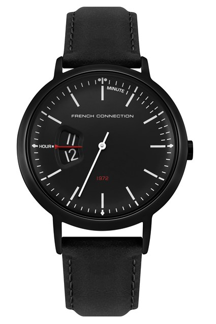 Black Oily Leather Strap Watch
