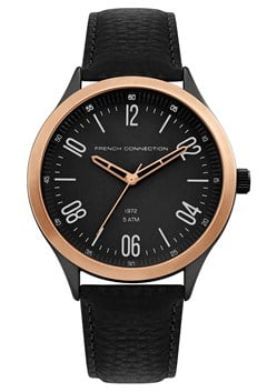 Black Leather Brushed Case Watch
