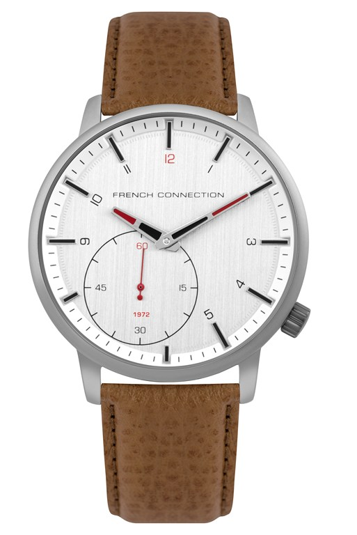 dual dial tan leather strap watch