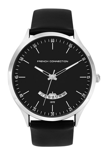 Black Leather Matte Face Watch