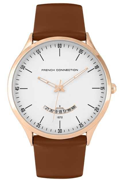 Brown Leather Rose Gold Case Watch