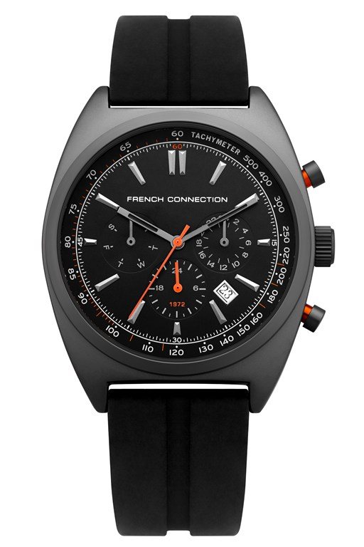 Complete the Look Black Dial Silicone Strap Watch