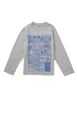 Scribble Long Sleeve Print Crew Tee