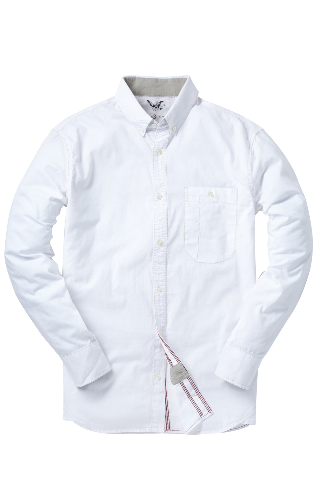 New-French-Connection-Cotton-Long-Sleeve-One-Pocket-Button-Shirt-Blue-White