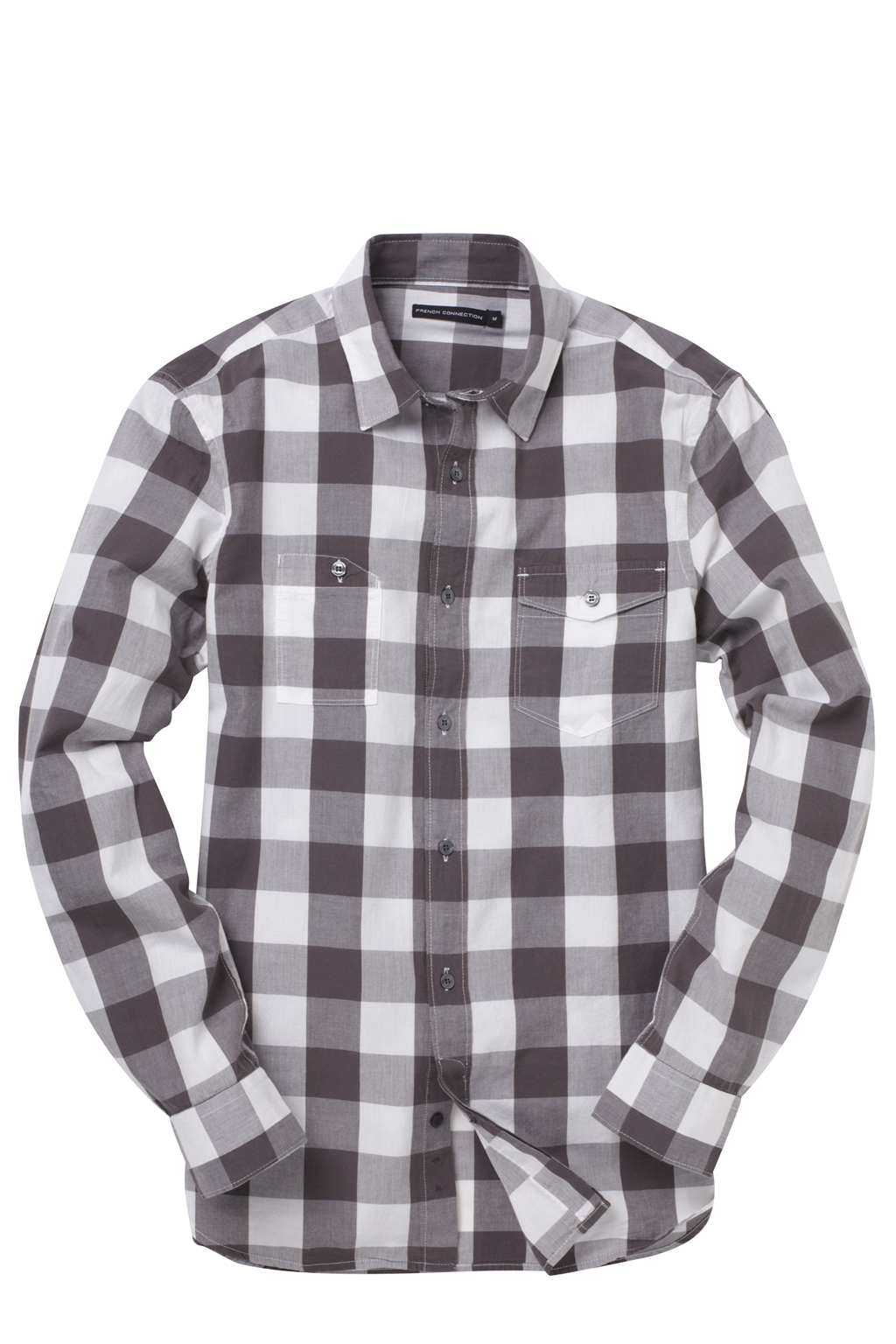 New-French-Connection-Long-Sleeve-Cotton-Check-Shirt-Grey